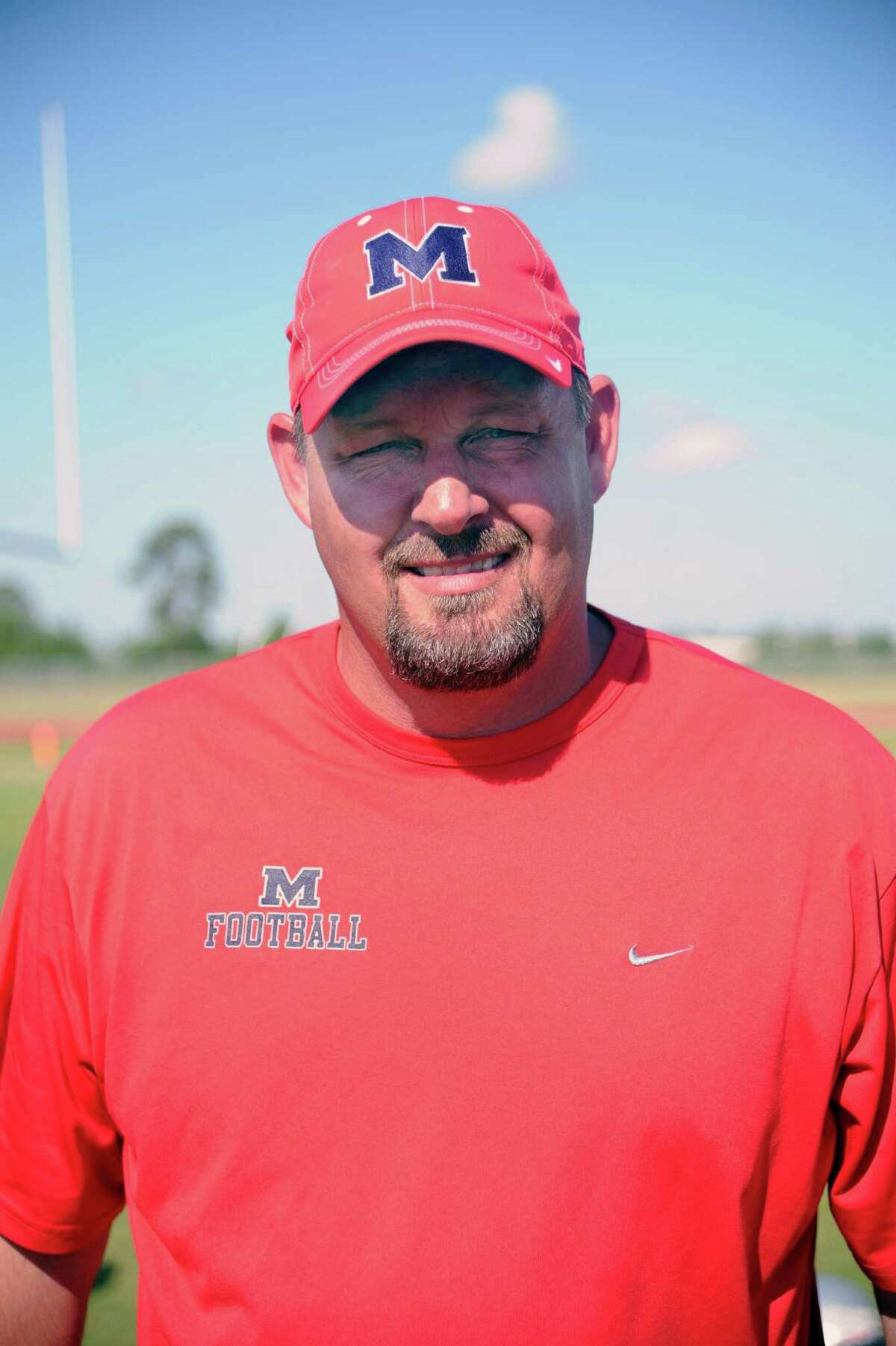 Manvel visited DeKaney high School for a football preseason football scrimmage. Manvel varsity football coach Kirk Martin.