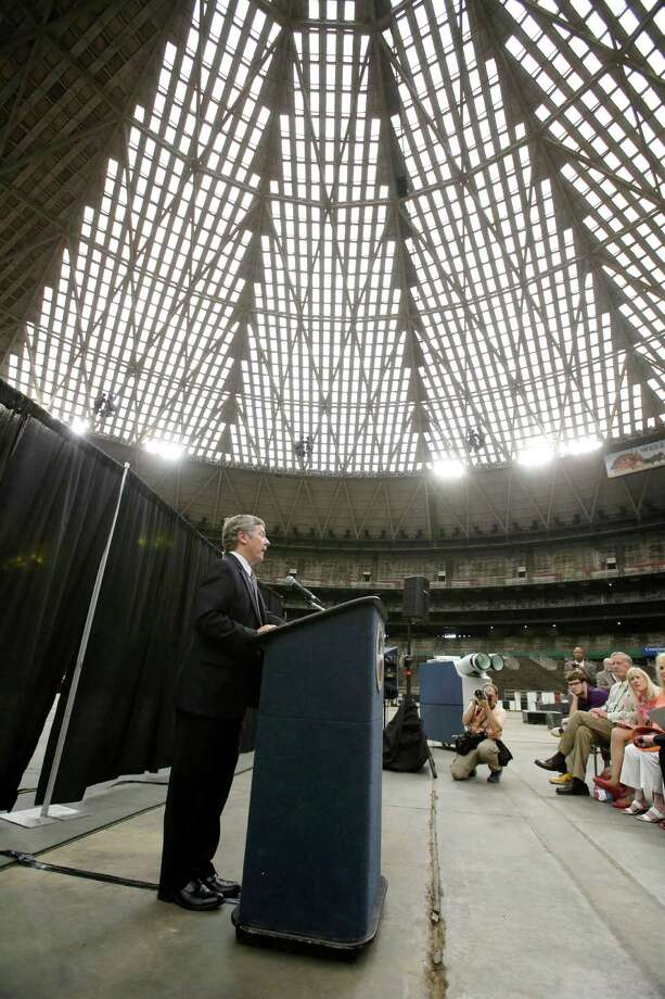 Harris County Judge Ed Emmett makes his suggestion to turn the Astrodome into the world's largest indoor park during a press conference at the historic domed stadium Tuesday, Aug. 26, 2014, in Houston. (AP Photo/Pat Sullivan) Photo: Pat Sullivan, STF / AP