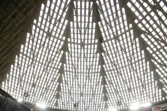 Harris County Judge Ed Emmett makes his suggestion to turn the Astrodome into the world's largest indoor park during a press conference at the historic domed stadium Tuesday, Aug. 26, 2014, in Houston. (AP Photo/Pat Sullivan)