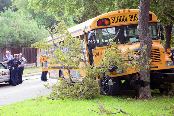 A school bus veered into a tree Tuesday as it was taking 22 students to HISD's Revere Middle School. The driver, taken to the hospital, told police a mechanical failure was to blame. The bus company owner could not be reached for comment.