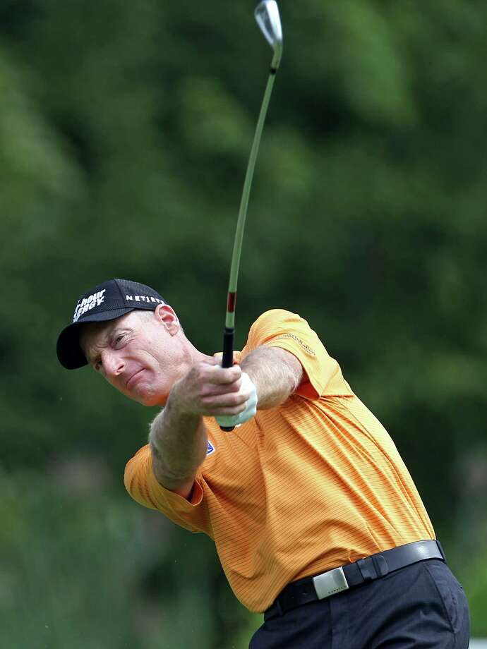Jim Furyk hits from the fifth fairway during third round play at The Barclays golf tournament Saturday, Aug. 23, 2014, in Paramus, N.J. (AP Photo/Adam Hunger) ORG XMIT: NJAH103 Photo: Adam Hunger / FR110666 AP