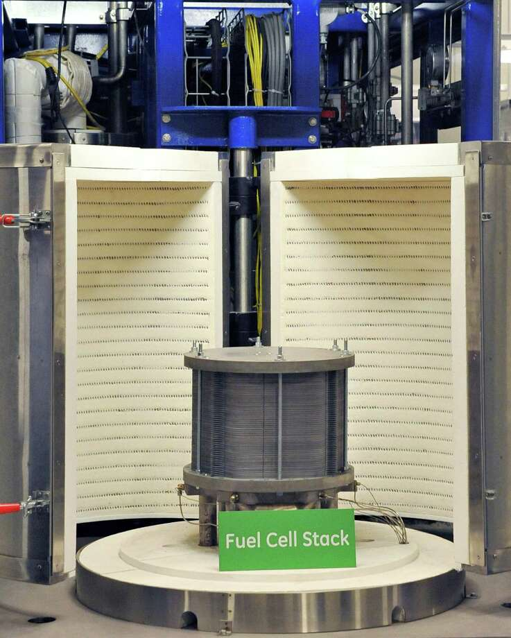 A fuel cell stack at GE's new fuel cell facility Tuesday August 26, 2014, in Malta, NY.  (John Carl D'Annibale / Times Union) Photo: John Carl D'Annibale / 00028308A