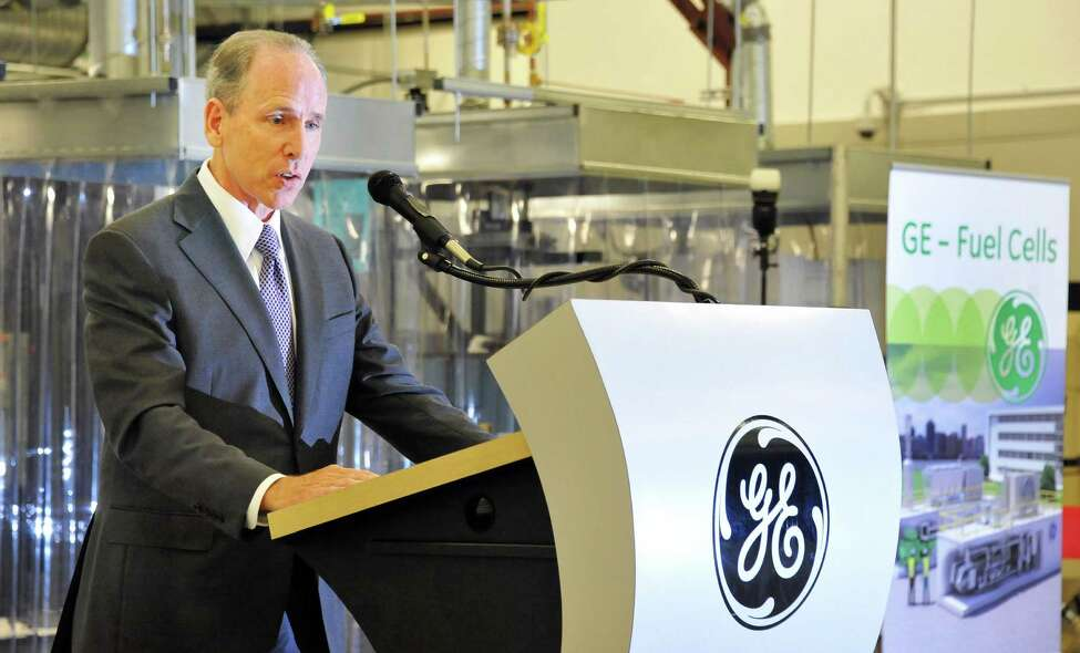 GE chief technology officer Mark Little speaks during ceremonies opening GE's new fuel cell facility Tuesday August 26, 2014, in Malta, NY. (John Carl D'Annibale / Times Union)