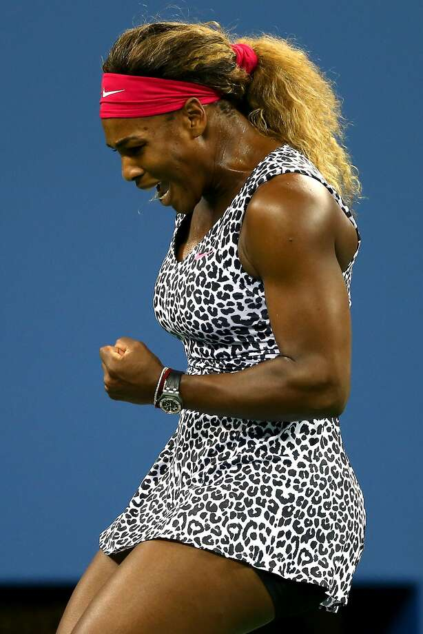 Serena Williams celebrates after a point in her match against Taylor Townsend. Photo: Elsa, Getty Images