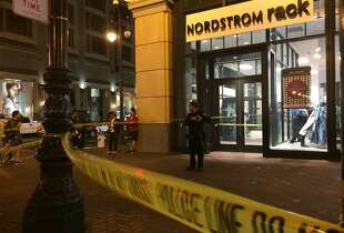 A victim suffered life-threatening injuries Tuesday night when two groups exchanged gunfire near the corner of Market Street and 5th Street in San Francisco.