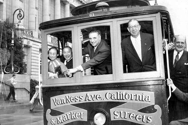 Mayor George Christopher on a cable car in San Francisco. Sept. 20, 1959.