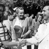 It's hard to remember sometimes that when the festival started, Italy was a Fascist country.  That didn't come much into play until 1938, when Joseph Goebbels became an annual fixture.  Here he shakes hands with the Italian actress Elli Parvo at the presence of the Italian Minister of Culture Alessandro Pavolini during the 9th Venice International Film Festival. Venice, 2nd September 1941.