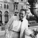 1950:  American writer Richard Wright (1908 - 1960) in Venice for the screening of director Pierre Chenal's film, 'Native Son,' at the Venice Film Festival, Italy, 1950. Wright starred in the film, which was adapted from his novel.  (Photo by Hulton Archive/Getty Images)