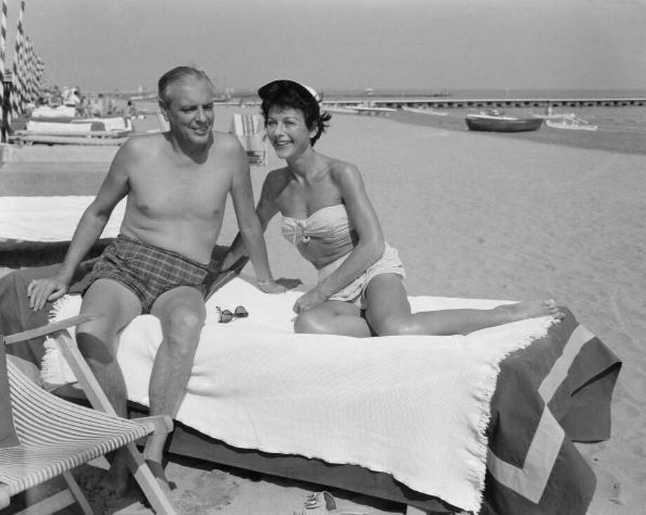 Hedy Lamarr (1913 - 2000) with her fifth husband, W. Howard Lee, at the lido during the Venice Film Festival, 5th September 1955. Photo: Keystone, Getty Images