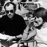 The French Film-Maker Jean-Luc Godard And The French Actress Macha Meryl Present The Film Une Femme Mariee At The Venice Film Festival In September 1964.  (Photo by Keystone-France/Gamma-Keystone via Getty Images)