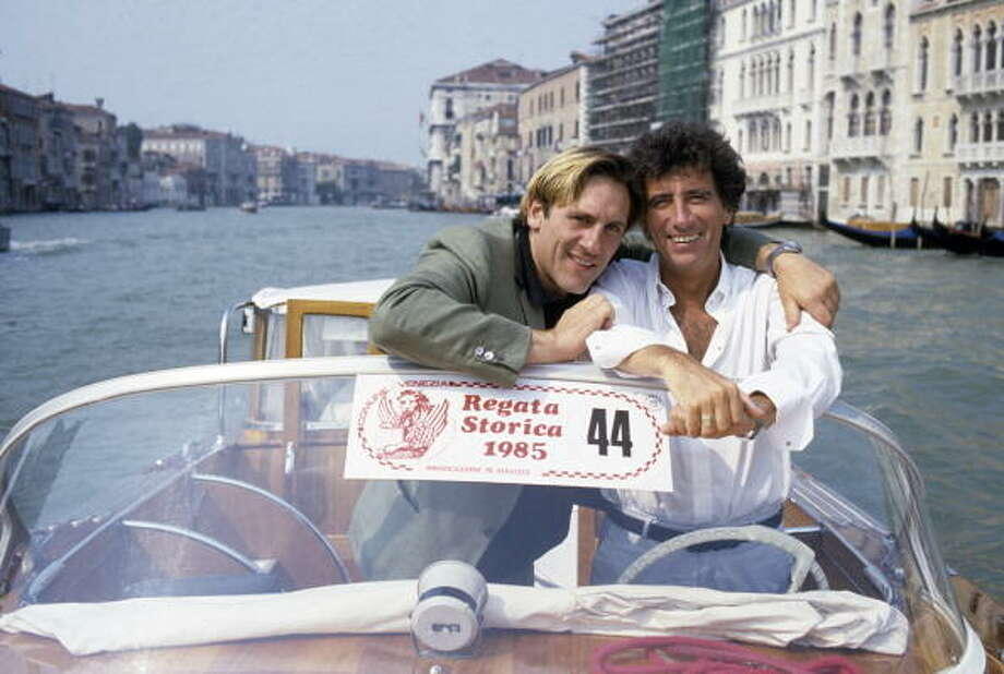 Jack Lang And Gerard Depardieu At The 42nd Venice Festival.  There were there for the Maurice Pialat film, POLICE. Photo: DEUTSCH Jean-Claude, Paris Match Via Getty Images