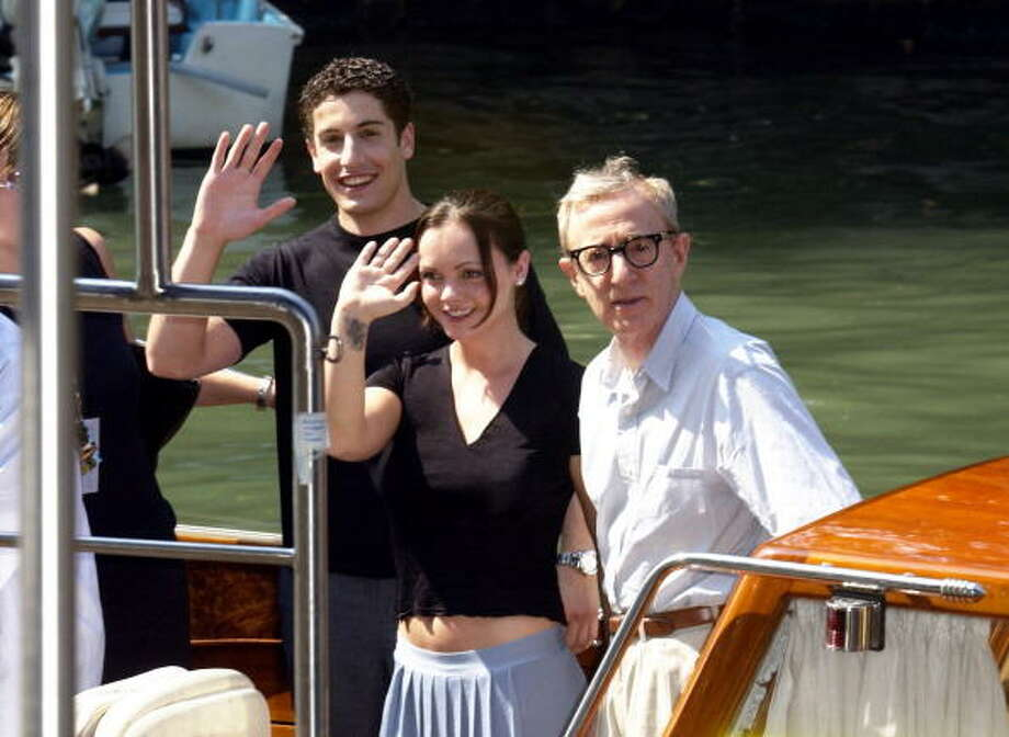 """Jason Biggs, Christina Ricci and Woody Allen during 2003 Venice Film Festival - Woody Allen, Christina Ricci and Jason Biggs Arrive at """"Anything Else"""" Photocall in Venice Lido, Italy. (Photo by J. Vespa/WireImage) Photo: J. Vespa, WireImage / WireImage"""