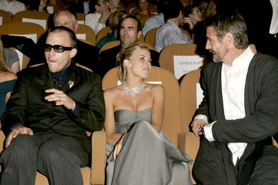 "Heath Ledger, Sienna Miller and Jeremy Irons during 2005 Venice Film Festival ""Casanova"" Premiere, inside at Palazzo del Cinema in Venice Lido, Italy. The stars sit in the front row of the second tier so everyone can see them, and if people don't like the movie, they boo anyway. Photo: J. Vespa, WireImage / WireImage"