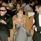 "Heath Ledger, Sienna Miller and Jeremy Irons during 2005 Venice Film Festival ""Casanova"" Premiere, inside at Palazzo del Cinema in Venice Lido, Italy. The stars sit in the front row of the second tier so everyone can see them, and if people don't like the movie, they boo anyway."