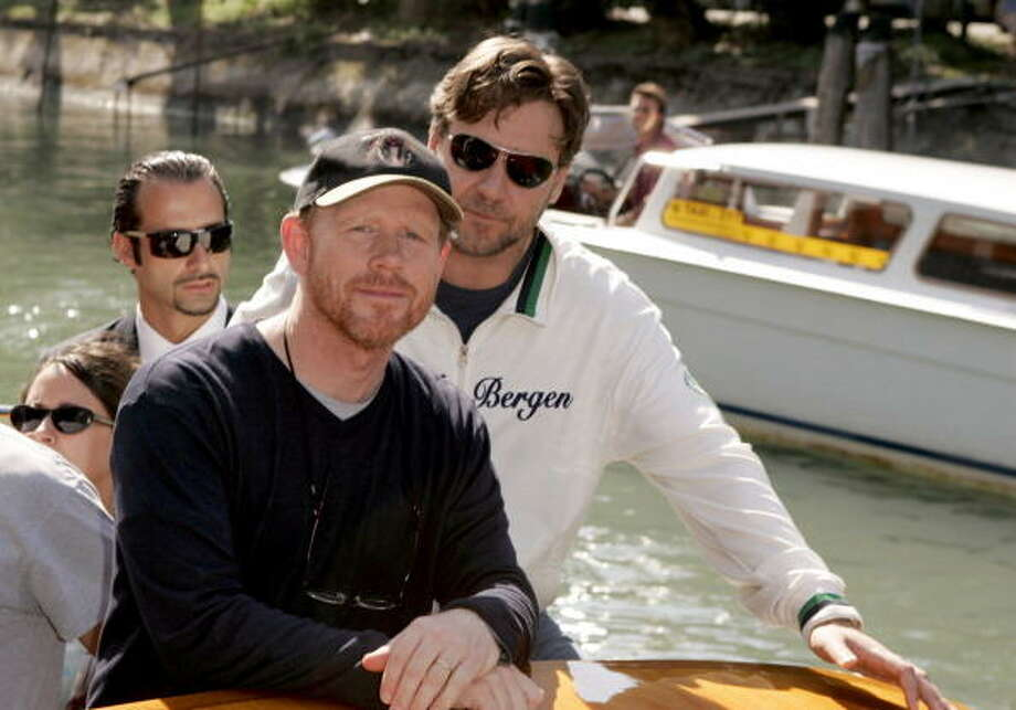 "Ron Howard and Russell Crowe during the 2005 Venice Film Festival.  There were there for  ""Cinderella Man"" and arriving at the Excelsior Hotel on the Lido. Photo: J. Vespa, WireImage / WireImage"