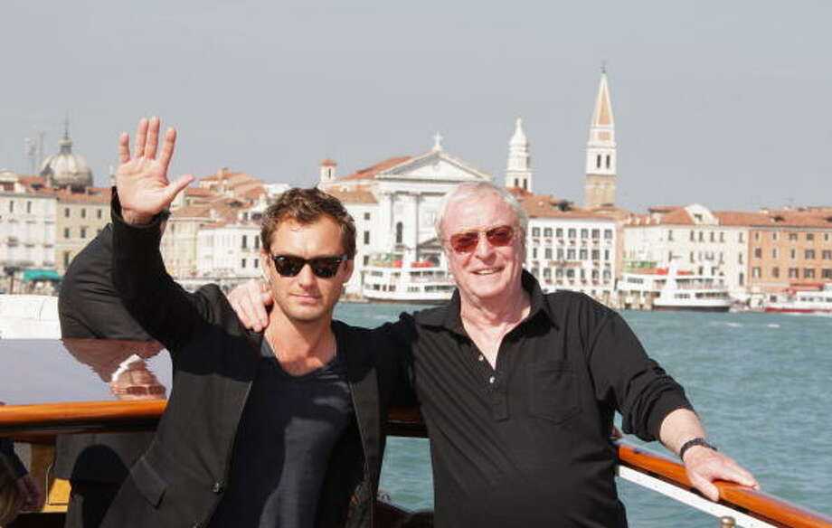 Jude Law and Michael Caine are seen in Venice during day 4 of the 64th Venice Film Festival on September 1, 2007 in Venice, Italy.  The next day the weather turned and it was cold and rainy for the rest of the festival. Photo: Pascal Le Segretain, Getty Images