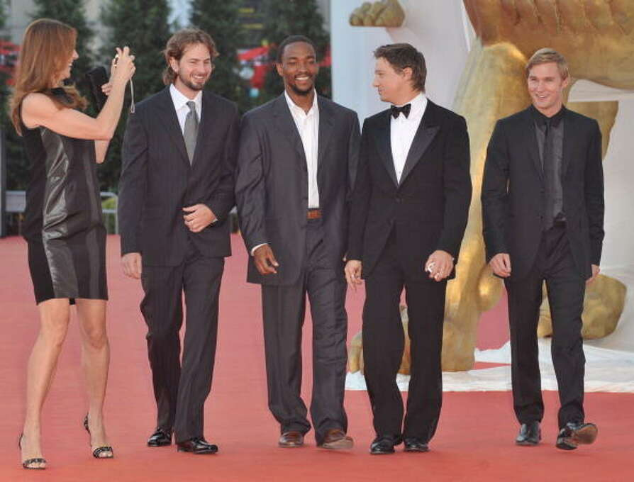 Director Kathryn Bigelow, scriptwriter Mark Boal and actors Anthony Mackie, Jeremy Renner and Brian Geraghty attend the Hurt Locker film premiere at the Sala Grande during the 65th Venice Film Festival on September 4, 2008 in Venice, Italy. This was another surprise.  The top movies usually debut early in the festival lineup.  This came several days in and surprised everybody. Photo: Dominique Charriau, WireImage / 2008 Dominique Charriau