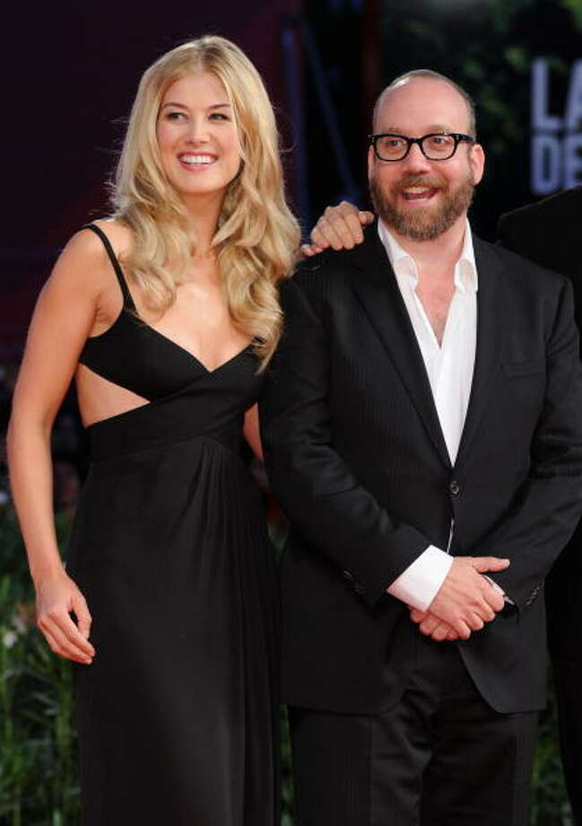 "Rosamund Pike and Paul Giamatti attend the ""Barney's Version"" premiere at the Palazzo del Cinema during the 67th Venice International Film Festival on September 10, 2010 in Venice, Italy. Photo: Venturelli, WireImage / 2010 Venturelli"