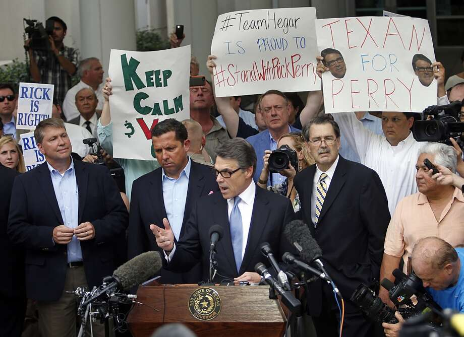"""What's next for Perry?The governor has already gone through the booking process, and entered a plea of """"not guilty."""" His legal team has also asked a judge to dismiss his indictment, claiming the case is an attack on his free speech rights. Photo: Stewart F. House, Getty Images"""