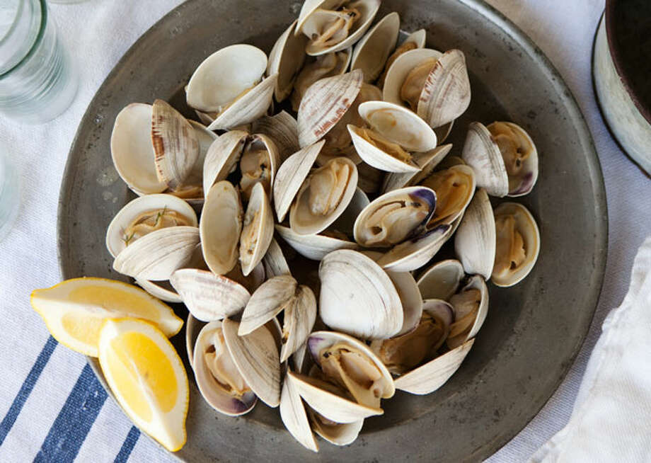 grilled clams with herb butter / Cedric Angeles, bonappetit.com