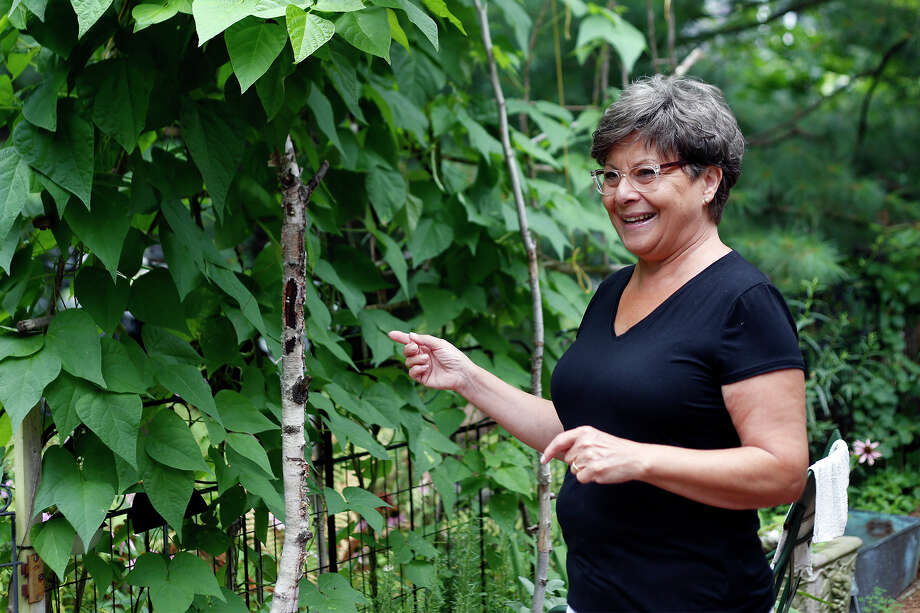 Marie LaMorte points to her bean stalks, located inside the family garden on Friday, August 15, 2014 in Slingerlands, N.Y. (Tom Brenner/ Special to the Times Union) Photo: Tom Brenner / ©Tom Brenner/ Albany Times Union