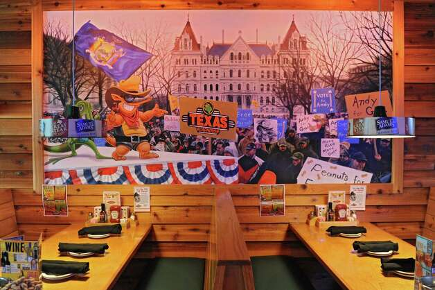 One of several murals with a local theme in the Texas Roadhouse restaurant which had their grand opening on Monday, Sept. 16, 2013 in Colonie, N.Y. (Lori Van Buren / Times Union) Photo: Lori Van Buren / 00023884A