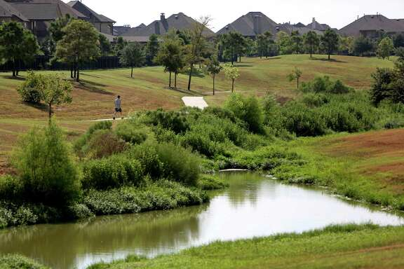 A dry detention area in Cinco Ranch is an environmentally friendly alternative to the usual detention pond.