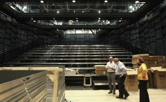 Marmon Mok Architecture associates take a tour of Tobin Center's Carlos Alvarez Studio Theater. / ©2014 San Antonio Express-News