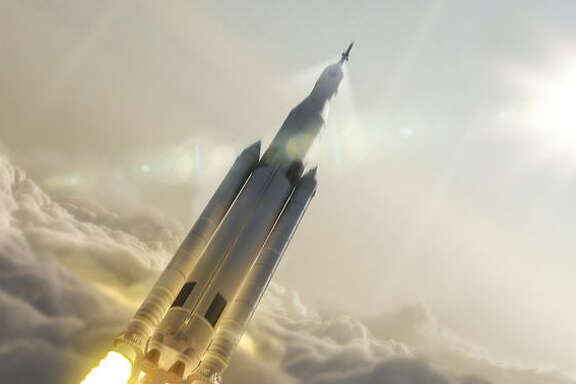 An artist's image shows what NASA's Space Launch System could look like on its way to space.