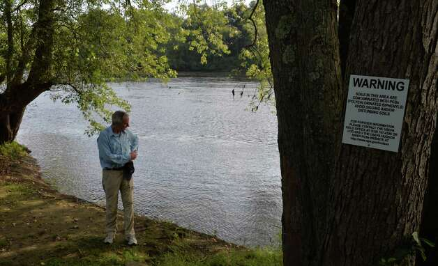 Scenic Hudson President Ned Sullivan explains how high levels of PCB's have contaminated the canoe and kayak launch at Hudson Crossing Park Wednesday August 27, 2014, in Schuylerville, NY.  (John Carl D'Annibale / Times Union) Photo: John Carl D'Annibale / 00028285A