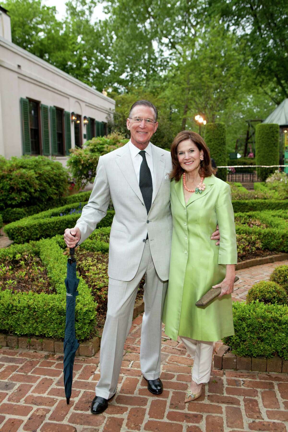 Houstonians Charles and Judy Tate, shown at the 2014 Bayou Bend Garden Party, have donated their collection of about 120 Latin American artworks to the Blanton Museum of Art at the University of Texas-Austin. About 10 percent of their $10 million gift will add to an endowment for the museum's Latin American curatorship.