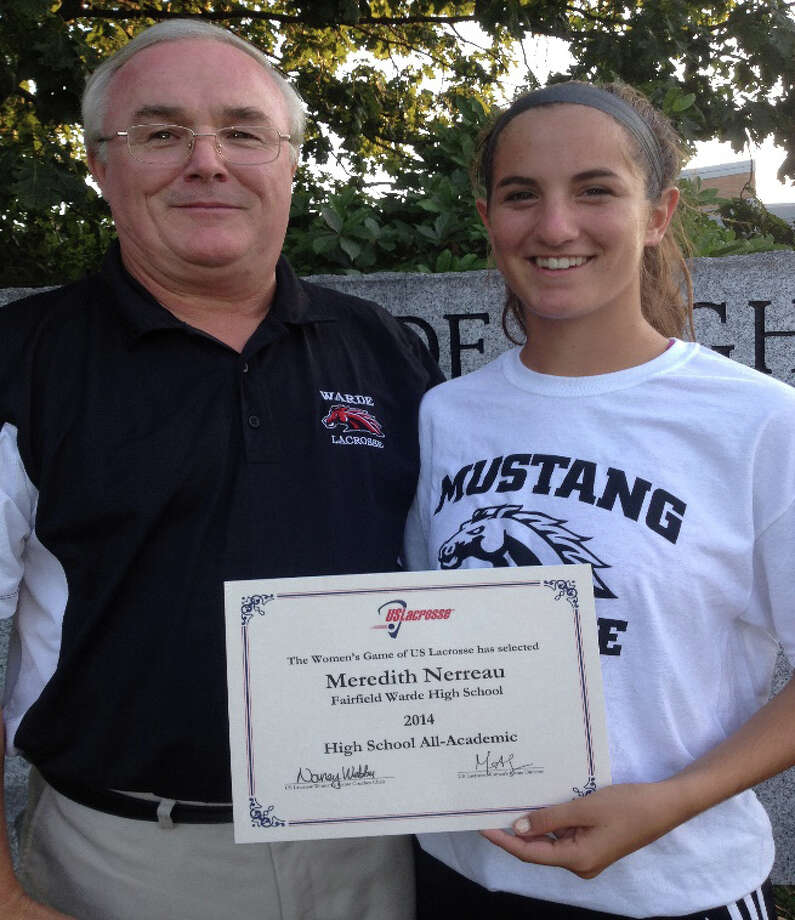 Fairfield Warde girls lacrosse captain  Meredith Nerreau, right, with coach Tom Davis and her award from US Lacrosse for achieving All-Academic All-America. She is the first Mustangs' girls lacrosse player to receive this honor from the sports national governing body. Photo: Contributed Photo / Fairfield Citizen