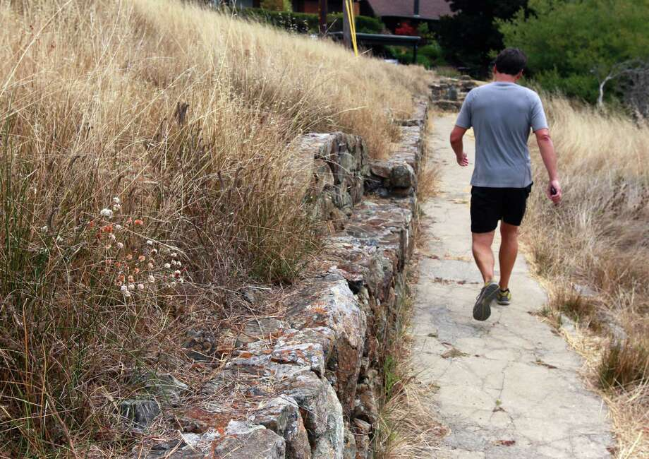 A jogger runs past a stone bench at the southern end of the Old St. Hilary's Open Space Preserve in Tiburon. Photo: Paul Chinn / Paul Chinn / The Chronicle / ONLINE_YES