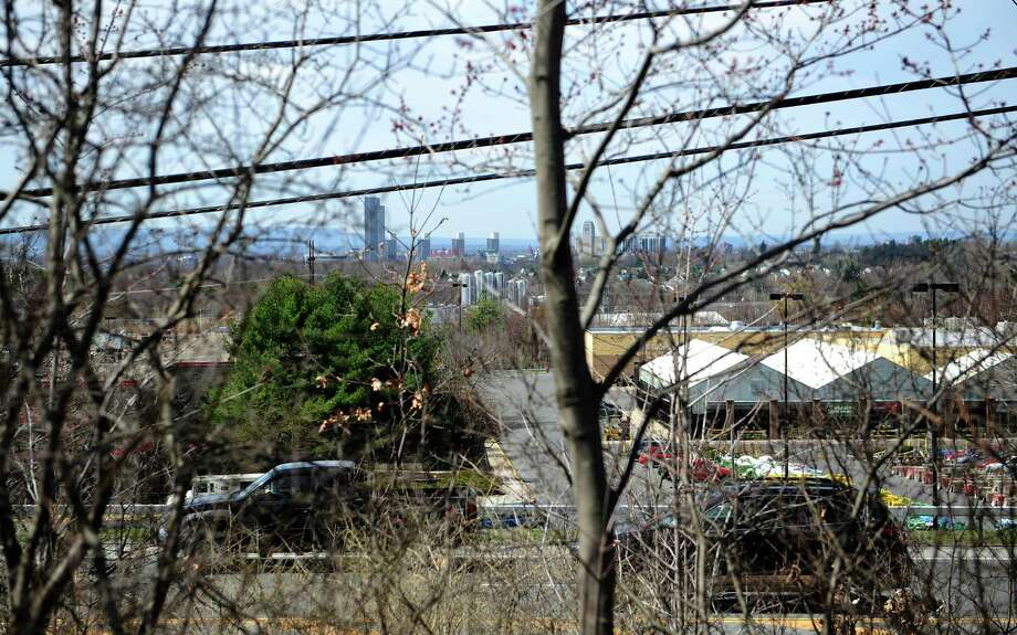 The skyline of Albany is seen through the trees in this view looking west from Thompson Hill Rd. on Monday, April 21, 2014, in East Greenbush, N.Y.      (Paul Buckowski / Times Union) Photo: Paul Buckowski / 00026571A