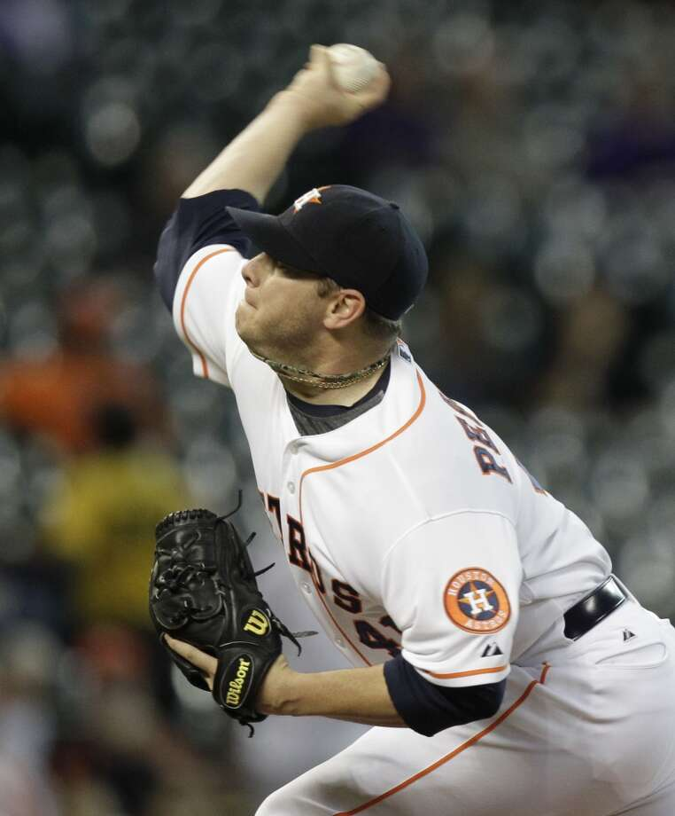 August 27: Athletics 5, Astros 4Brad Peacock pitches during the first inning. Photo: Melissa Phillip, Houston Chronicle