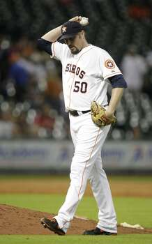 August 27: Athletics 5, Astros 4  Veteran closer Chad Qualls had a rough go of it in the series finale, coughing up a one-run lead as Oakland rallied for the win.  Record: 56-78. Photo: Melissa Phillip, Houston Chronicle