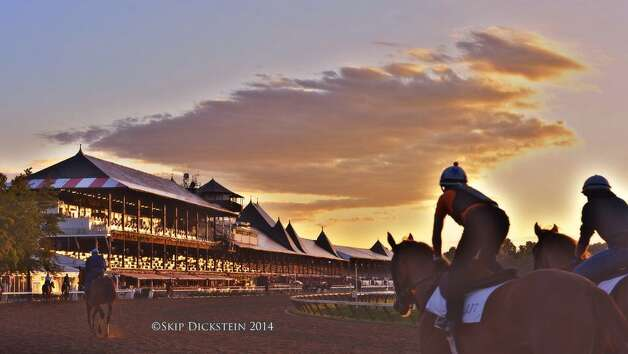 Another beautiful sunrise as the meeting winds down at Saratoga. Just four days left. (Skip Dickstein/Times Union)