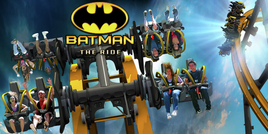 Batman: The Ride, which is a one-of-a-kind 4-dimensional coaster, features a 120-foot incline, two 90-degree drops and six free-fly flips. Six Flags Fiesta Texas revealed the roller coaster on August 28, 2014. Photo: Courtesy, Six Flags Fiesta Texas