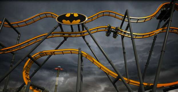 Batman: The Ride, which is a one-of-a-kind 4-dimensional coaster, will feature a 120-foot incline, two 90-degree drops and six free-fly flips. Six Flags Fiesta Texas revealed its new roller coaster on August 28, 2014. Photo: Kristin Smith, Courtesy, Six Flags Fiesta Texas