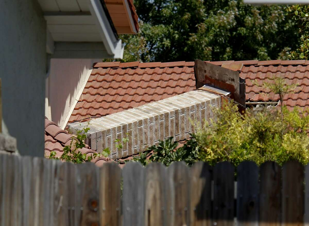 A chimney completely fell over on a newer home off Browns Valley Road in Napa, Calif. Among the most damaged and dangerous aspects of homes in earthquake prone areas are brick chimneys which have been responsible for numerous injuries and deaths when they collapse in an earthquake.