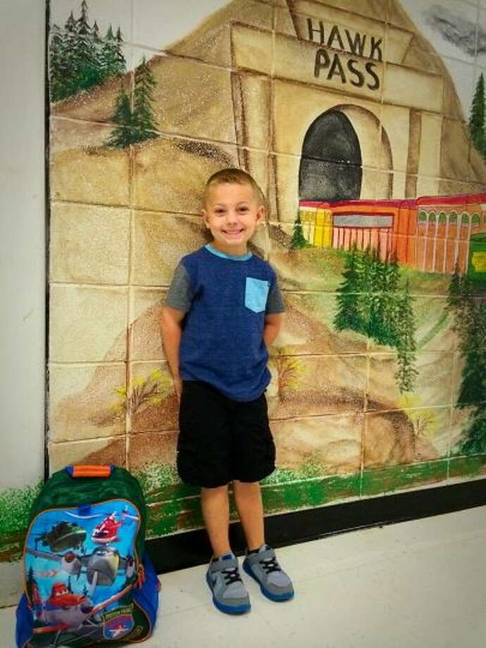 Denson Revia prepares for his first day of kindergarten at Sour Lake Elementary.