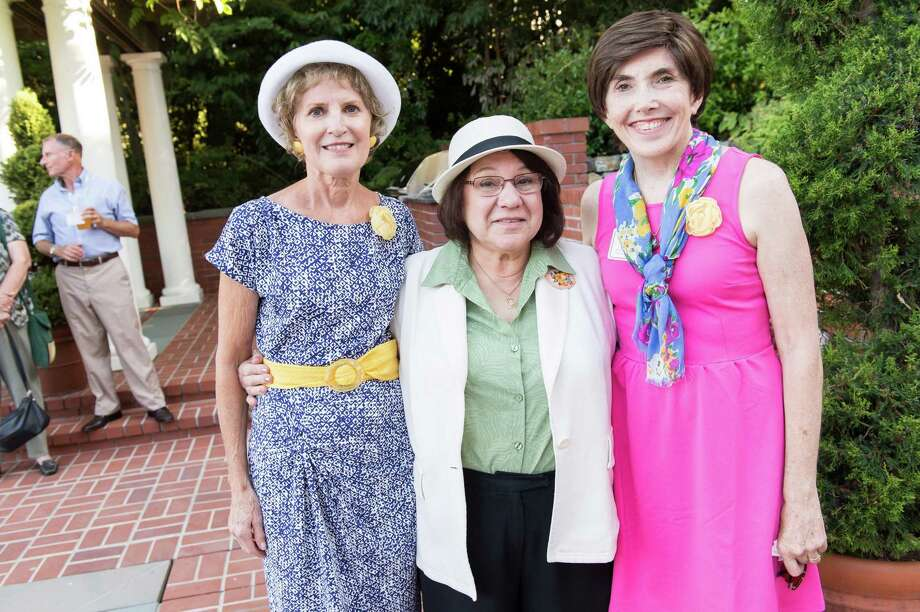 Carol Harband, Diana Kayiatos and Judy Stephenson at CASA of San Mateo County's Auxiliary Garden Party on August 24. 2014. Photo: Susana Bates For Drew Altizer, Drew Altizer Photography / DREW ALTIZER PHOTOGRAPHY