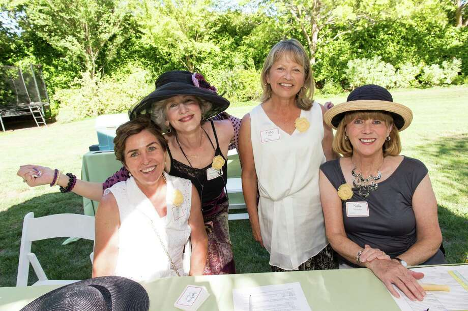 Beth Walsh, Karen Boquist-Gelineau, Vicky King and Sally Myerson at CASA of San Mateo County's Auxiliary Garden Party on August 24. 2014. Photo: Susana Bates For Drew Altizer, Drew Altizer Photography / DREW ALTIZER PHOTOGRAPHY