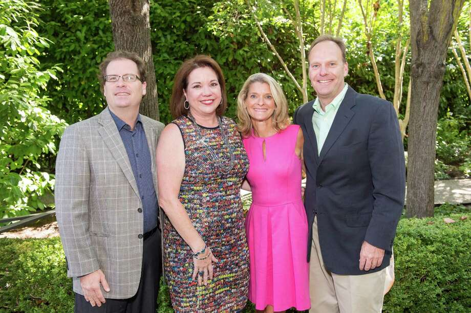 Jack Steiner, Kim Swig, Amy Sanford and Blair Sanford at CASA of San Mateo County's Auxiliary Garden Party on August 24. 2014. Photo: Susana Bates For Drew Altizer, Drew Altizer Photography / DREW ALTIZER PHOTOGRAPHY