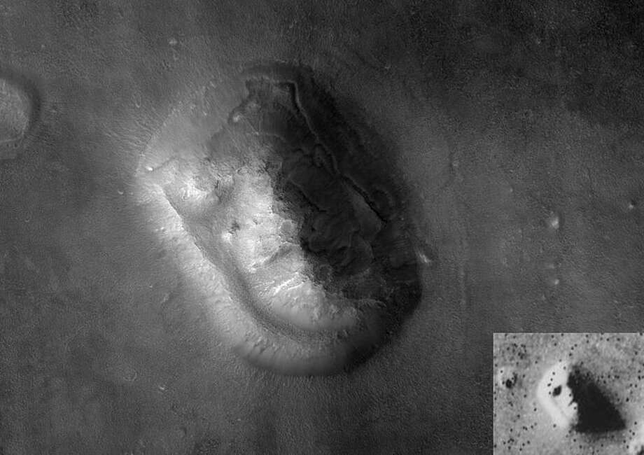 "Mars Reconnaissance Orbiter image by its HiRISE camera of the ""Face on Mars"". Viking Orbiter image inset in bottom right corner."