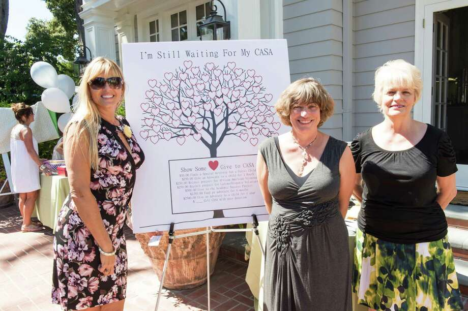 Brigitte Greenstone, Mary D'Apice and Pat Miljanich at CASA of San Mateo County's Auxiliary Garden Party on August 24. 2014. Photo: Susana Bates For Drew Altizer, Drew Altizer Photography / DREW ALTIZER PHOTOGRAPHY
