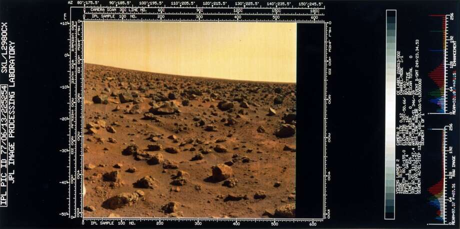 The image shows a red rock-strewn terrain. Two Viking spacecraft were launched towards Mars in 1975, each carrying a lander spacecraft and an orbiter. Both successfully landed their probes on Mars to study the Martian environment, soil constituents and to search for simple life forms - none were found. Viking 2 was launched on 9th September 1975 and landed in the Utopia Planitia region of Mars on 3rd September 1976. Photo: Science & Society Picture Librar, SSPL Via Getty Images