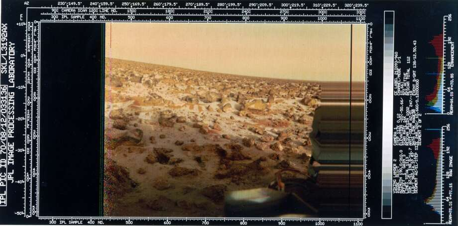 The image shows a red rock-strewn terrain and part of the lander itself. Two Viking spacecraft were launched towards Mars in 1975, each carrying a lander spacecraft and an orbiter. Both successfully landed their probes on Mars to study the Martian environment, soil constituents and to search for simple life forms - none were found. Viking 2 was launched on 9th September 1975 and landed in the Utopia Planitia region of Mars on 3rd September 1976. Photo: Science & Society Picture Librar, SSPL Via Getty Images