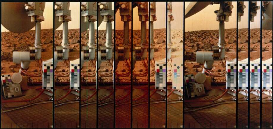 This shows many images of the colour scale on the lander, used to calibrate the pictures, against the Martian surface. Two Viking spacecraft were launched towards Mars in 1975, each carrying a lander spacecraft and an orbiter. Both successfully landed their probes on Mars to study the Martian environment, soil constituents and to search for simple life forms - none were found. Photo: Science & Society Picture Librar, SSPL Via Getty Images