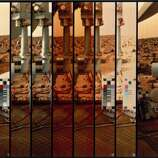 This shows many images of the colour scale on the lander, used to calibrate the pictures, against the Martian surface. Two Viking spacecraft were launched towards Mars in 1975, each carrying a lander spacecraft and an orbiter. Both successfully landed their probes on Mars to study the Martian environment, soil constituents and to search for simple life forms - none were found.